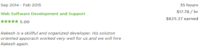 Rakesh is a skillful and organized developer. His soluton oriented apporach worked very well for us and we will hire Rakesh again.